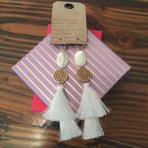 Anthropologie earrings white tassel pearl earrings